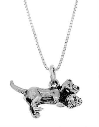 STERLING SILVER CAT PLAYING WITH BALL OF YARN CHARM WITH 16 inch BOX CHAIN NECKLACE