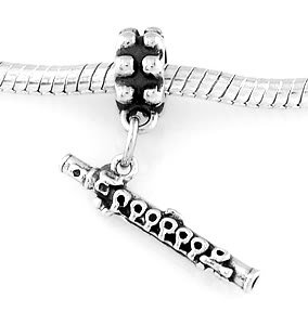 STERLING SILVER DANGLING WOODWIND FLUTE EUROPEAN BEAD