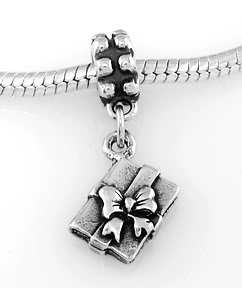 STERLING SILVER DANGLE GIFT BOX WITH BOW EUROPEAN BEAD