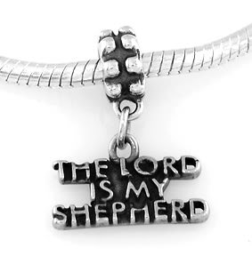 STERLING SILVER DANGLE THE LORD IS MY SHEPHERD EUROPEAN BEAD