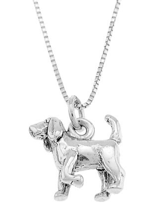 STERLING SILVER ST. HUBERT HOUND / BLOODHOUND DOG CHARM WITH 16 inch BOX CHAIN NECKLACE