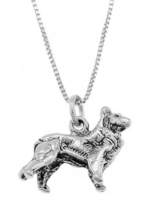 STERLING SILVER BORDER COLLIE STYLE / COLLIE DOG CHARM WITH 18 inch BOX CHIAN NECKLACE