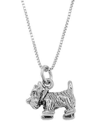 STERLING SILVER SCOTTISH TERRIER DOG / SCOTTIE DOG CHARM WITH 18 inch BOX CHAIN NECKLACE