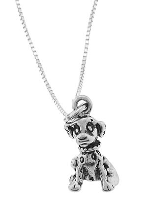 STERLING SILVER DALMATIAN PUPPY DOG CHARM WITH 18 inch BOX CHAIN NECKLACE