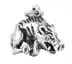 STERLING SILVER RAZORBACK HOG 3D CHARM/PENDANT