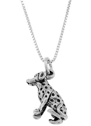 STERLING SILVER DALMATIAN DOG CHARM WITH 18 inch BOX CHAIN NECKLACE