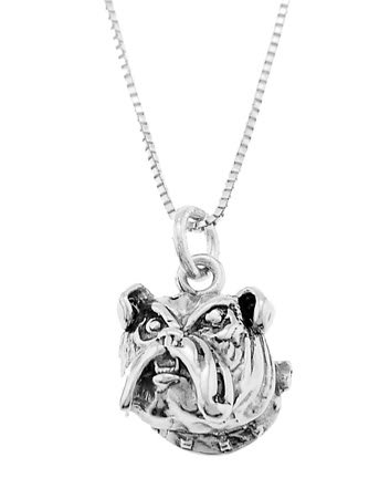 STERLING SILVER BULLODG HEAD CHARM WITH 18 inch BOX CHAIN NECKLACE