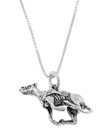 STERLING SILVER RACING RUNNING STYLE GREYHOUND DOG CHARM WITH 18 inch BOX CHIAN NECKLACE