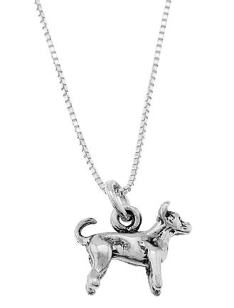 STERLING SILVER CHIHUAHUA DOG WITH 18 inch BOX CHAIN NECKLACE