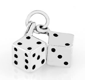 STERLING SILVER PAIR OF PLAYERS DICE CHARM/PENDANT