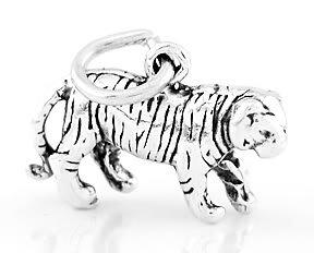STERLING SILVER WALKING TIGER 3D CHARM/PENDANT