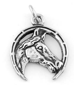 STERLING SILVER HORSESHOE & HORSE CHARM/PENDANT