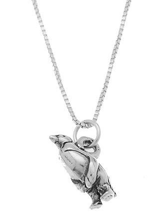 STERLING SILVER ANTARCTICA STYLE PENGUIN CHARM WITH 18 inch BOX CHAIN NECKLACE