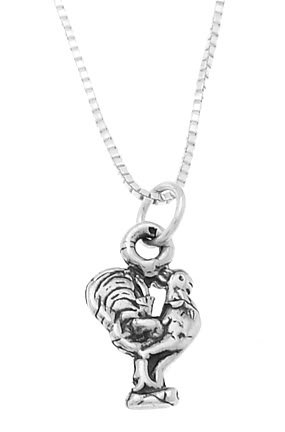 STERLING SILVER ROOSTER CHARM WITH 18 inch BOX CHAIN NECKLACE