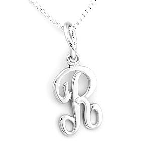 """STERLING SILVER  INITIAL R & 16"""" SILVER BOX CHAIN"""