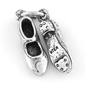 STERLING SILVER CLOGGING TAPPING SHOES CHARM/PENDANT