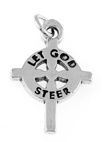 STERLING SILVER LET GOD STEER CROSS CHARM/PENDANT