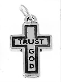 STERLING SILVER TRUST GOD CROSS CHARM/PENDANT