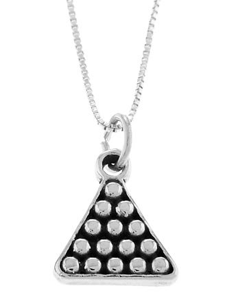 STERLING SILVER RACK OF POOL BALLS / BILLIARD BALLS CHARM With 16 inch BOX CHAIN NECKLACE