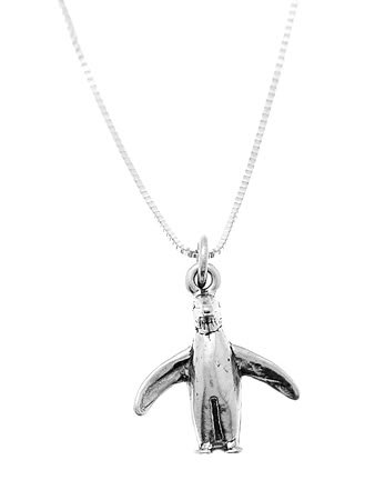 STERLING SILVER PENGUIN CHARM WITH 16 inch BOX CHAIN NECKLACE