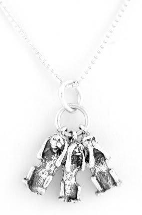 "STERLING SILVER NO EVIL MONKEYS CHARM W/ 16"" BOX CHAIN"