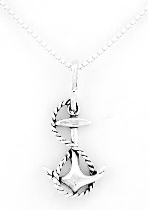 "STERLING SILVER FAITH ANCHOR W/ ROPE CHARM W/ 16"" BOX CHAIN"