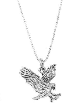 STERLING SILVER EAGLE / LANDING EAGLE CHARM WITH 16 inch BOX CHAIN NECKLACE