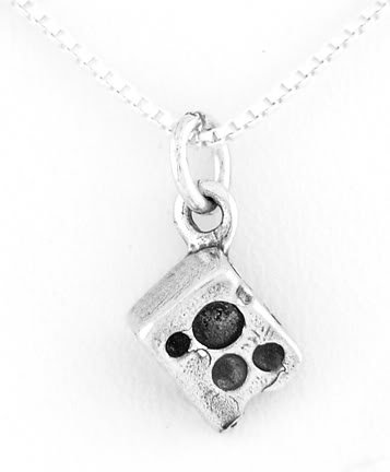 "STERLING SILVER SLICE OF SWISS CHEESE CHARM W/ 16"" BOX CHAIN"