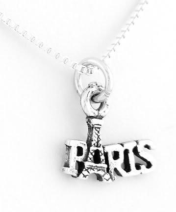 """STERLING SILVER PARIS EIFFEL TOWER CHARM W/ 16"""" BOX CHAIN"""
