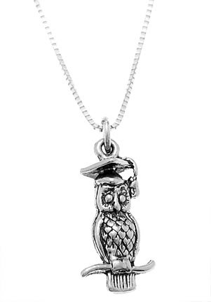 STERLING SILVER GRAUATION OWL WITH CAP CHARM WITH 16 inch BOX CHAIN NECKLACE