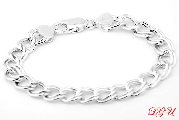 STERLING SILVER ITALIAN CHARM BRACELET 8MM 7 INCHES