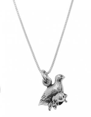 STERLING SILVER PARTRIDGE IN PEAR TREE CHARM WITH 16 inch BOX CHAIN NECKLACE