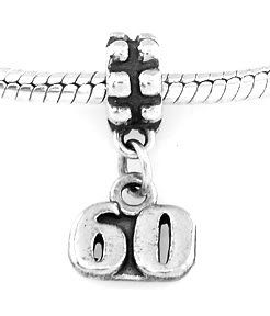 STERLING SILVER DANGLING NUMBER 60 EUROPEAN BEAD
