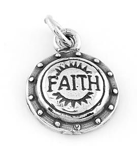 STERLING SILVER ARMOR OF GOD SHIELD OF FAITH CHARM/PENDANT