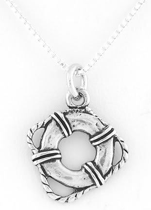 "STERLING SILVER LIFE PRESERVER CHARM W/ 16"" BOX CHAIN"
