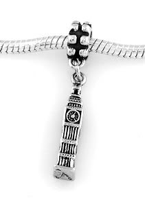 SILVER DANGLE 3D ENGLAND BIG BEN CLOCK EUROPEAN BEAD