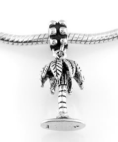 STERLING SILVER DANGLING 3D PALM TREE EUROPEAN BEAD