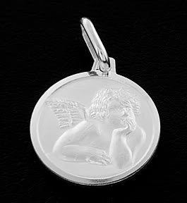 "STERLING SILVER CHERUB ANGEL 8MM CHARM & 18"" BOX CHAIN"