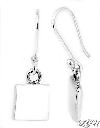 STERLING SILVER SQUARE DANGLE EARRINGS