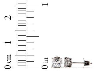 STERLING SILVER CZ PRINCESS FILIGRI STUD EARRINGS 4mm
