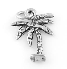 STERLING SILVER FLAT PALM TREE CHARM/PENDANT