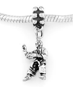STERLING SILVER DANGLE TAE KWON DO INSTRUCTOR  EUROPEAN BEAD