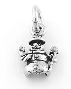 STERLING SILVER SMALL SNOWMAN CHARM/PENDANT