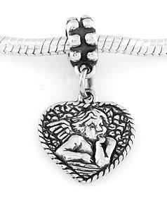 STERLING SILVER DANGLE BABY ANGEL/CHERUB HEART EUROPEAN BEAD