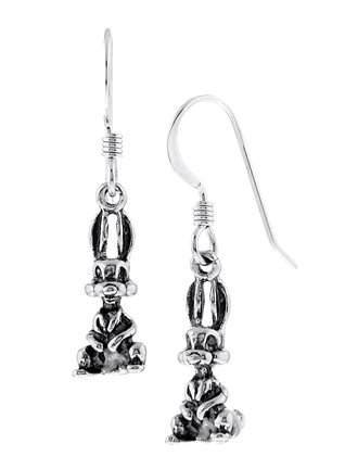 STERLING SILVER 3D BUNNY RABBIT DANGLING EARRINGS
