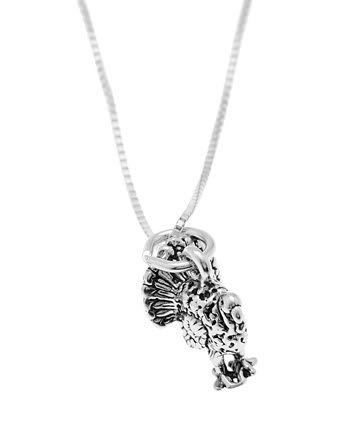 STERLING SILVER WILD TURKEY CHARM WITH 16 INCH BOX CHAIN NECKLACE