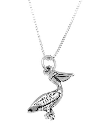 STERLING SILVER PELICAN BIRD CHARM WITH 16 INCH BOX CHAIN NECKLACE