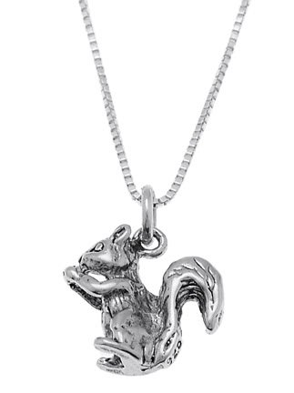STERLING SILVER SQUIRREL HOLDING / EATING NUT CHARM WITH 16 inch BOX CHAIN NECKLACE