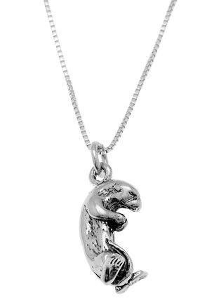 STERLING SILVER SEA OTTER CHARM WITH 16 inch BOX CHAIN NECKLACE
