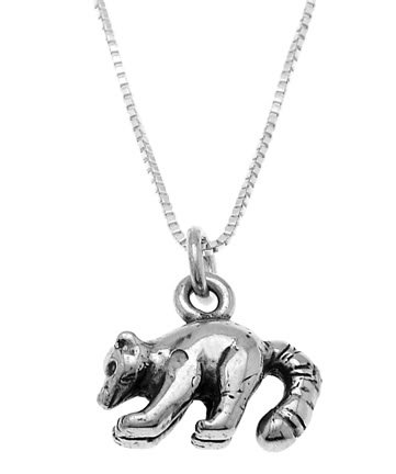 STERLING SILVER LONG TAIL RACCOON CHARM WITH 16 inch BOX CHAIN NECKLACE